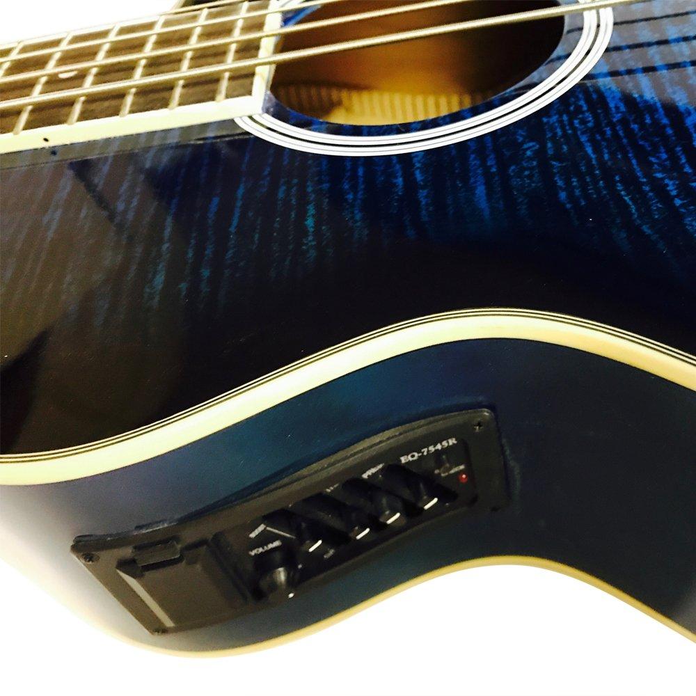 Bajo acústico de Coban, eléctrico, de lujo, con 4 ecualizadores, incluye correa y cable de conexión: Amazon.es: Instrumentos musicales