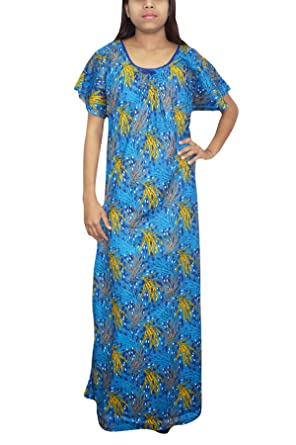 Indiatrendzs Womens Summer Nightgown Cotton Printed House Wear Blue Nighty  L  Amazon.in  Clothing   Accessories e771bc65f