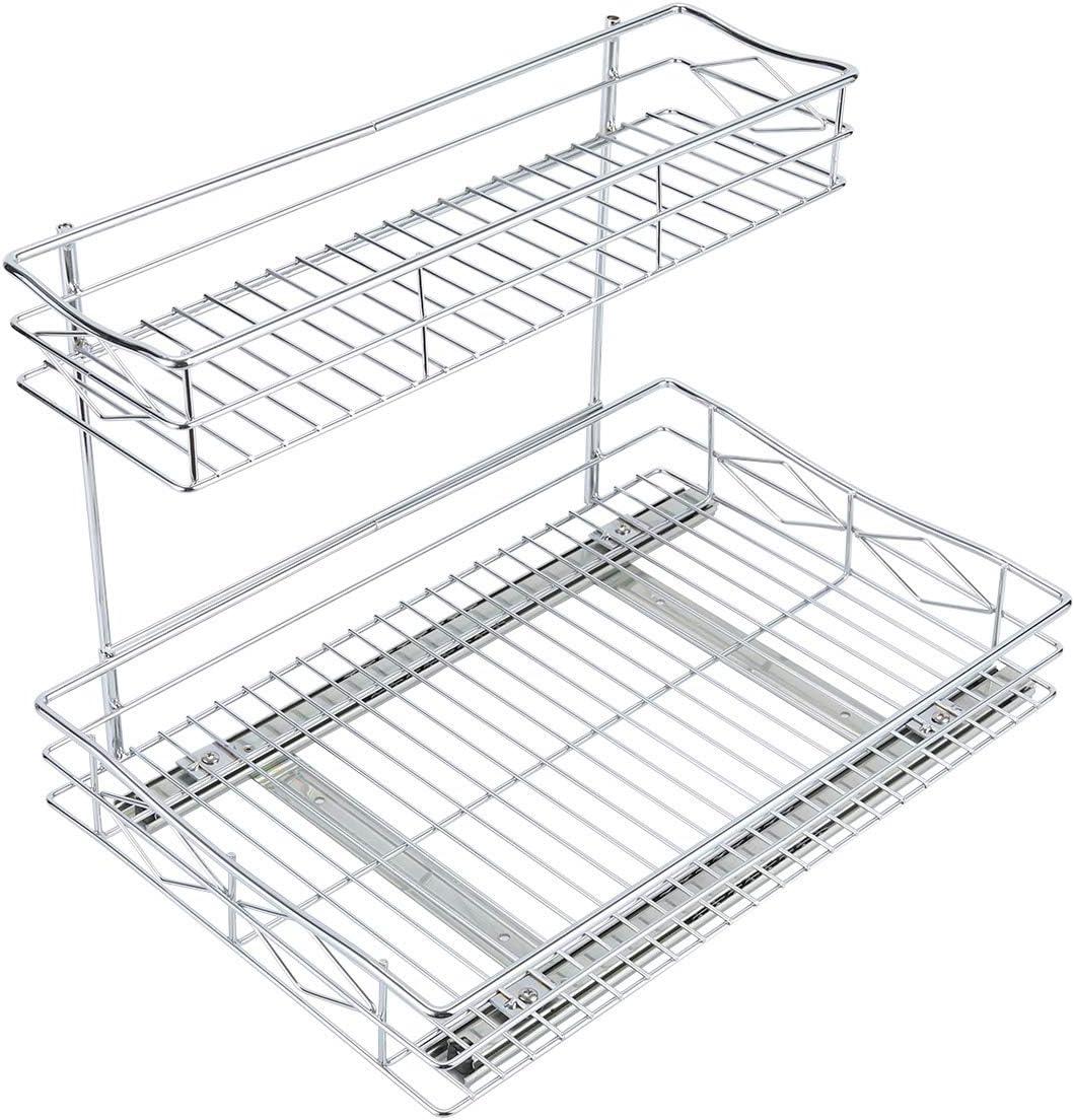 2 Tier Sliding Wire Drawer Pull Out Cabinet Organizer Under Sink Sliding Shelf