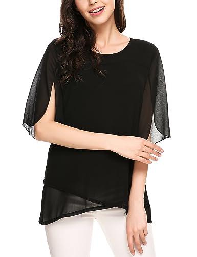 Meaneor Women's Loose Casual Ruffle Half Sleeve Chiffon Top T-shirt Blouse