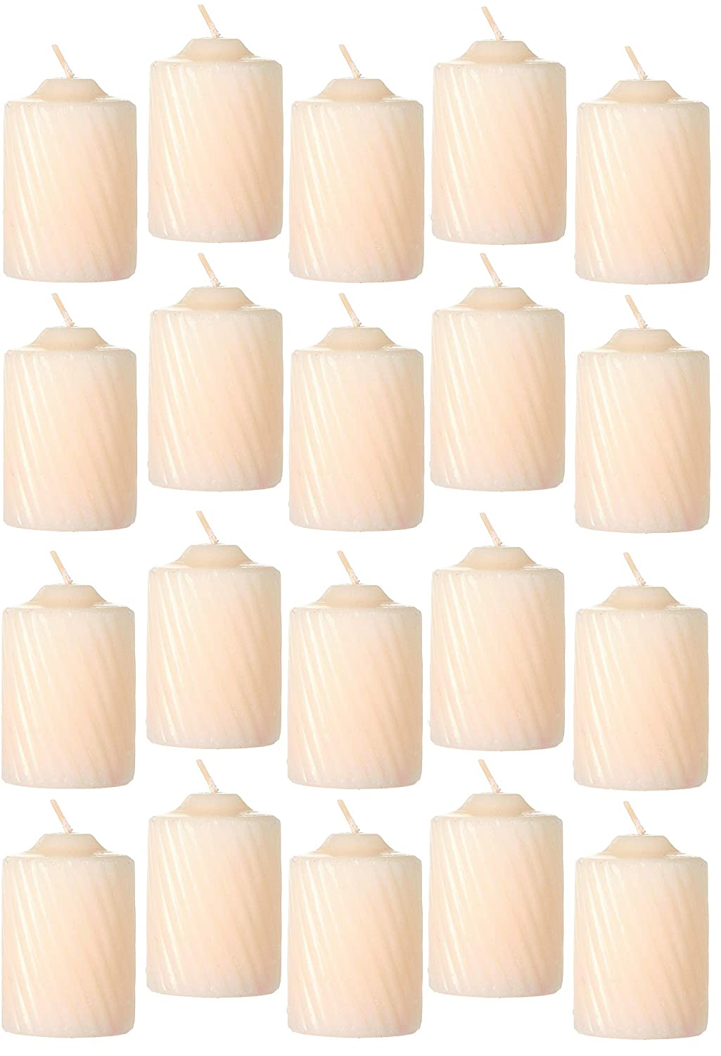 2 Tall /& 1.5 Diameter 15-Hour Burn Time Set of Twenty 20 Fluted Textured Finished Sides Decorative Indoor Decor Accent Ivory Cream Vanilla Scented Wax Votive Candles Bundle of 20-Items
