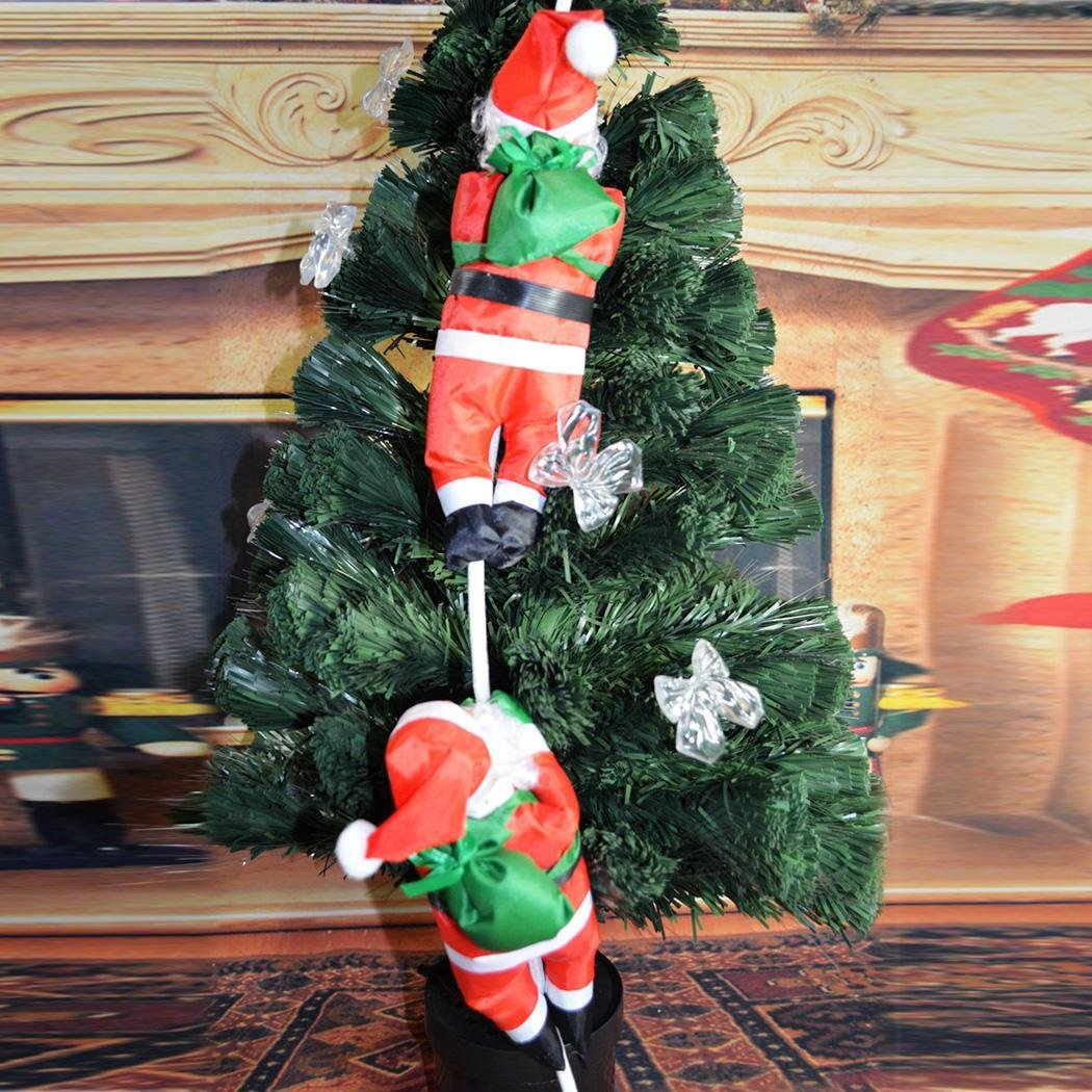 Dtemple Christmas Santa Claus Doll 2pcs Christmas Tree Decorations with Rope