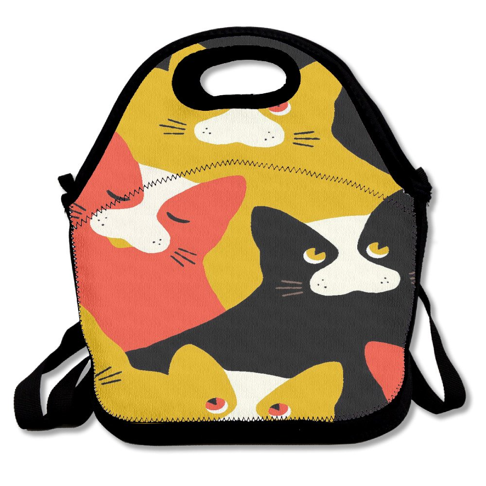 80a5bf8ad3a9 Cats Kittens Meow Mustache Lunch Bag Tote Handbag Lunchbox Food ...