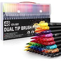 TEKER Plumones Punta de Pincel 48 Colores, Rotuladores de Dibujo con Dual Brush(0.4mm/1-2mm), Rotuladores Acuarelables…