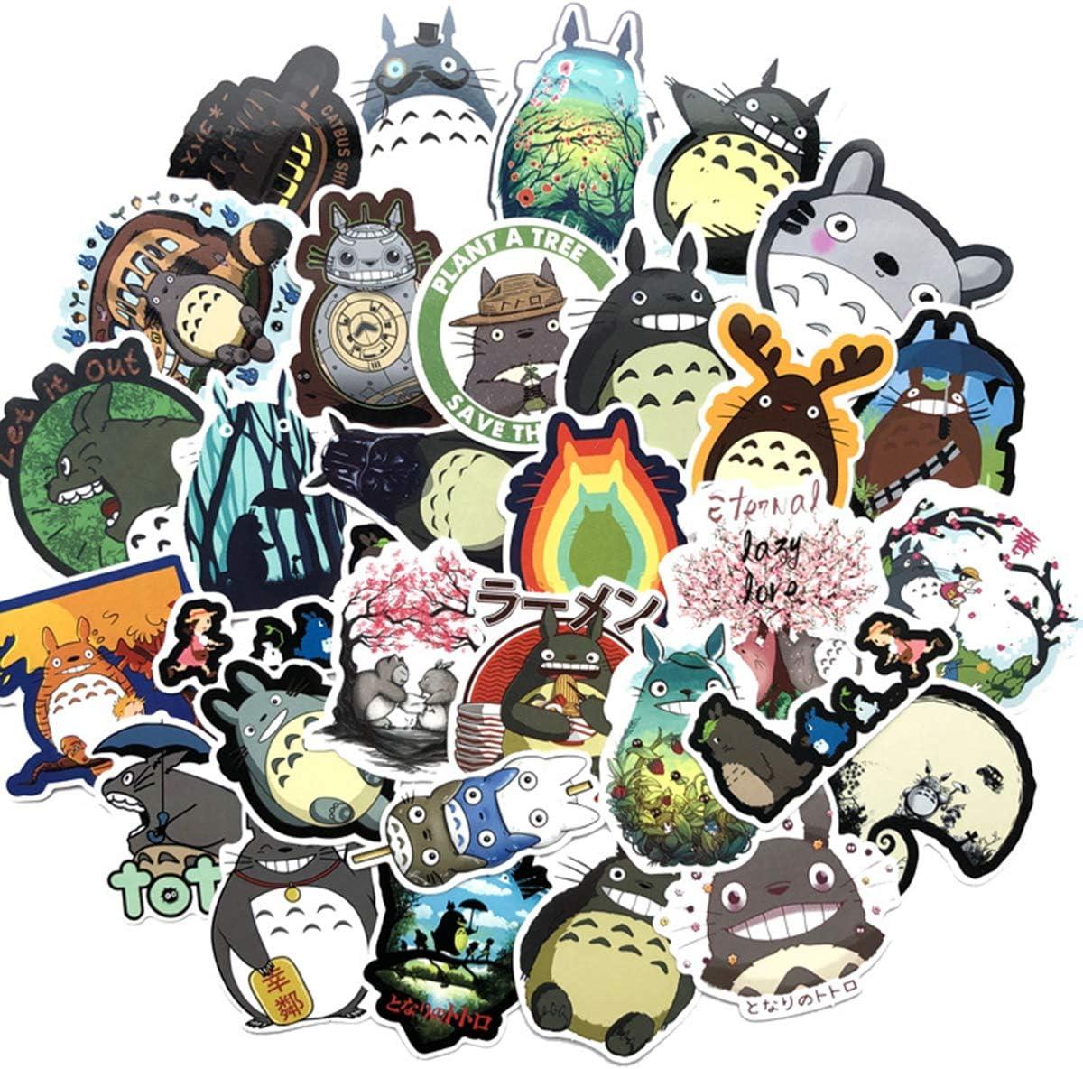 64PCS My Neighbor Totoro, Clear Stickers No-Duplicate Waterproof Vinyl Stickers for Skateboard Luggage Helmet Guitar (Totoro)