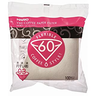 Hario V60 Paper Coffee Filters, Size 03, White, Untabbed