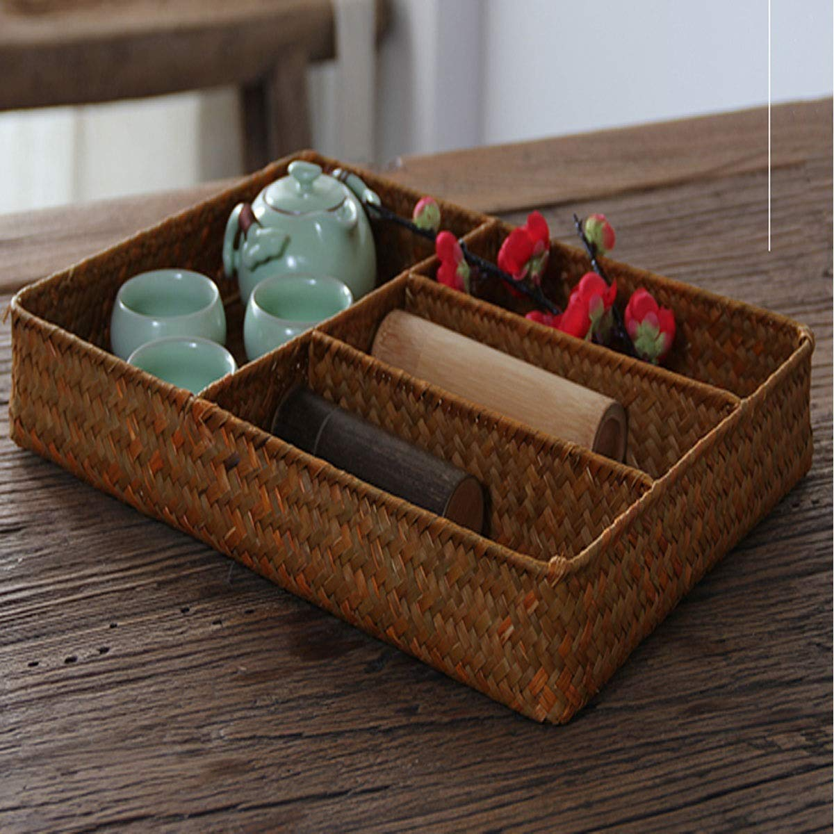 Bamboo Straw Storage Basket products2 Lattice Storage Box Storage Box Tea Room Tea Ceremony Guyuexuan Hand-woven Storage Box Shape : 2