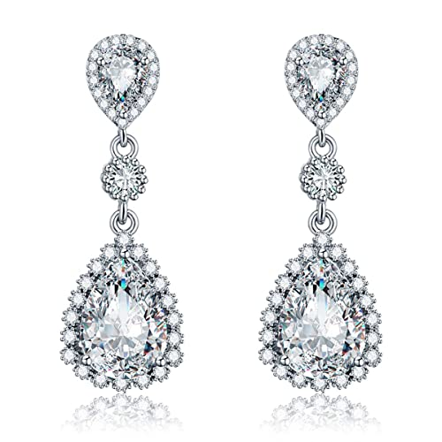 d117142f3 Womens Cubic Zirconia Gala Earrings - Sterling Silver Bridal Long Teardrop  Crystal Rhinestone CZ Dangle Drop