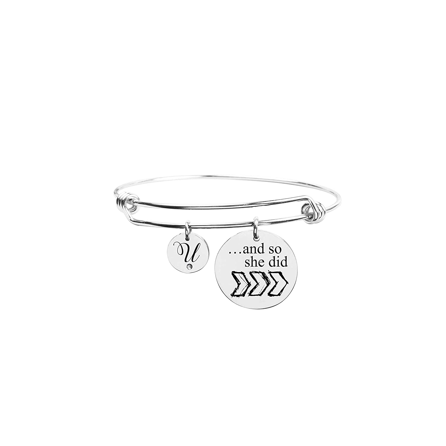 U Pink Box and So She Did Initial Bangle with Cubic Zirconia Silver