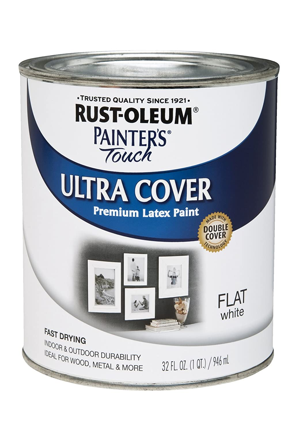Rust-Oleum 1990502 Painters Touch Latex, 1-Quart, Flat White