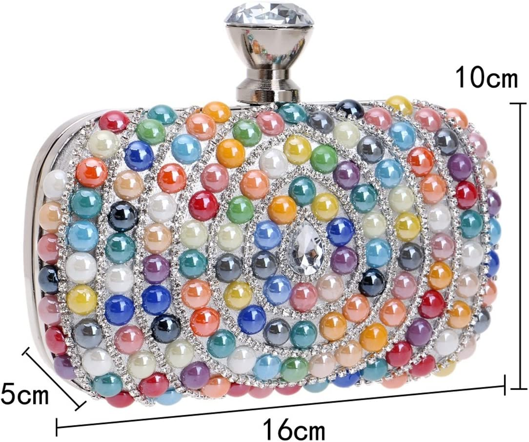 Color : Colourful LBY Europe and The United States Foreign Trade New Drop Diamond Ladies Bag Luxury Banquet Bride Evening Bag Exquisite Dress Hand Holding Evening Bag Evening Package