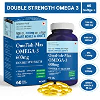Carbamide Forte Omega 3 Fish Oil 1000Mg Double Strength Epa & Dha For Heart, Bones & Joint Health - 60 Softgel Capsules