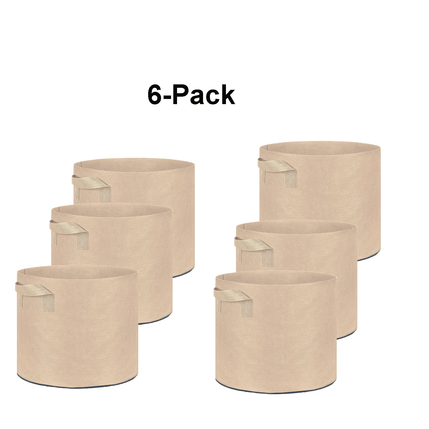 Oppolite 6-Pack 30 Gallon Tan Grow Bags Pots Heavy Duty Fabric Aeration Fabric Pots Grow Bags W/Handles (6, 30 Gallon) by Oppolite