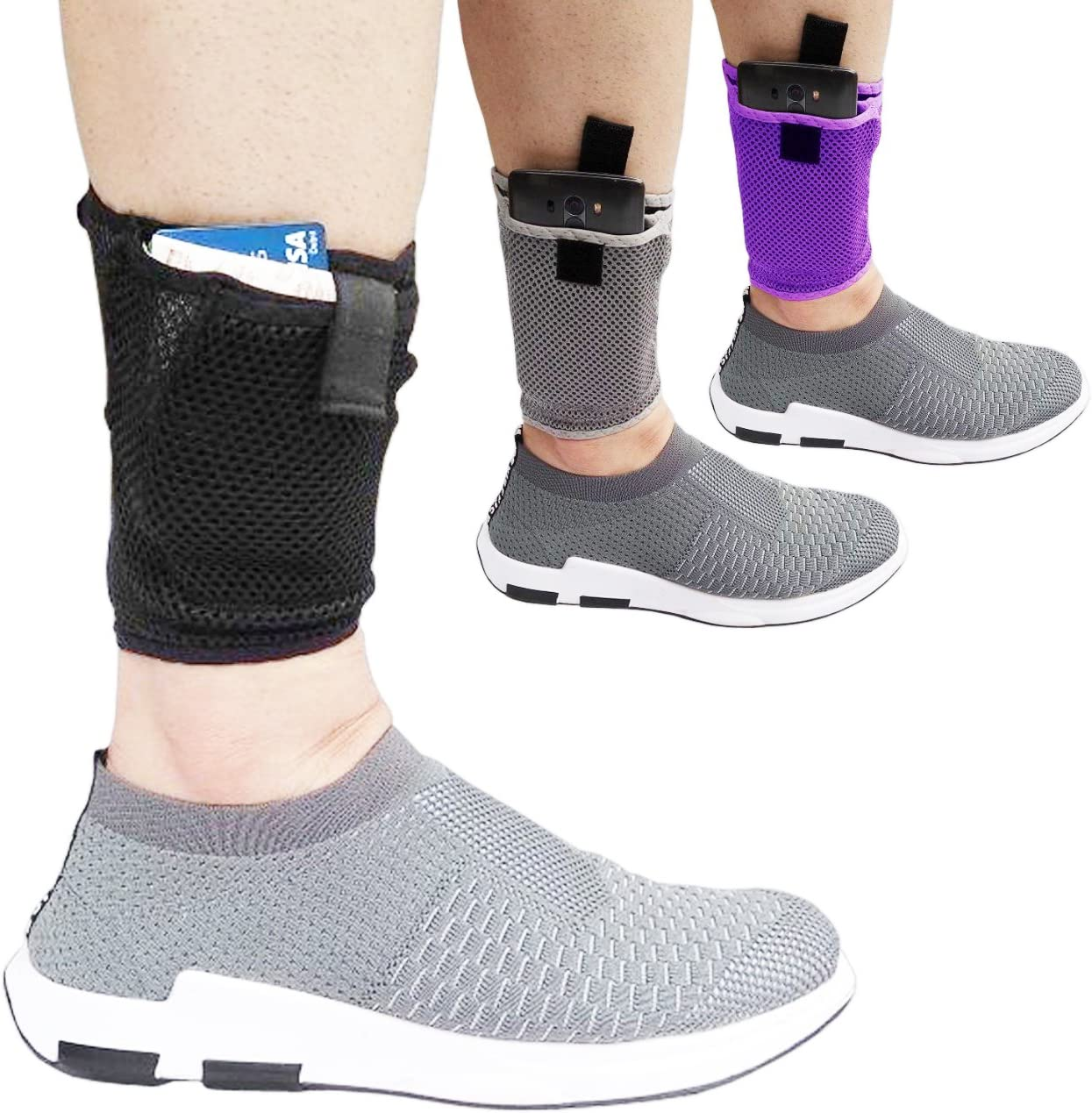 LTG PRO Concealed Ankle Leg Wallet Travel Clutch Pouch Passport Mobile Purse Bag