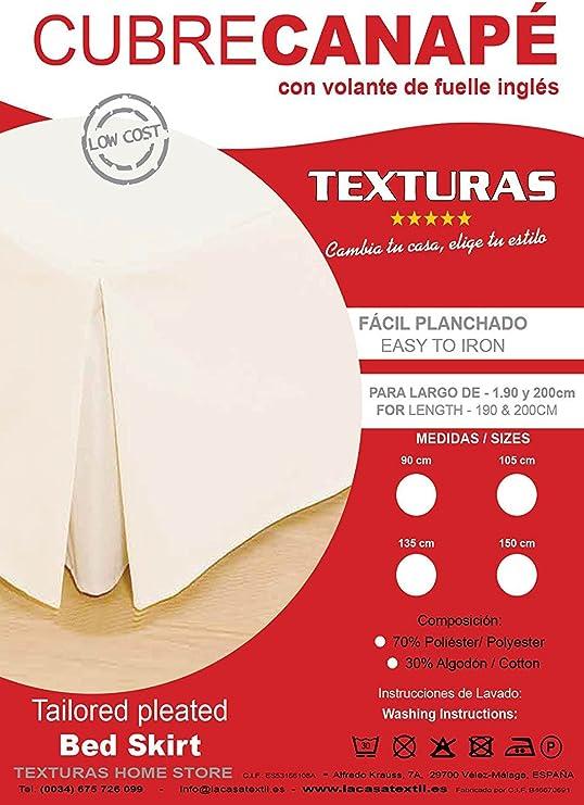 Basic Home by Texturas Cubrecanapé Loneta Fuelle Inglés Crudo (Varios tamaños Disponibles) (Cama 90)