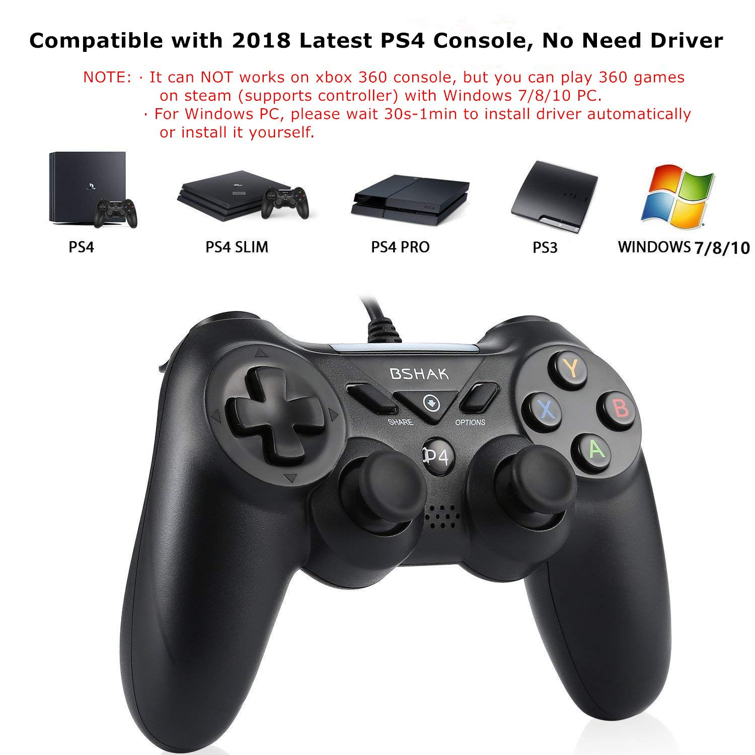 PS4 Controller USB Wired for Playstation 4 PC Video Games Gamepad
