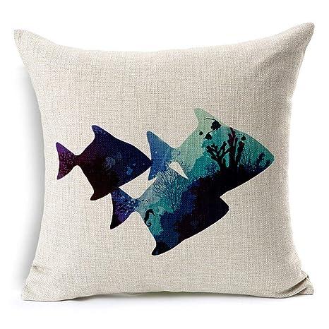 Amazon.com: Rdsfhsp - Funda de cojín de lino con dibujos ...