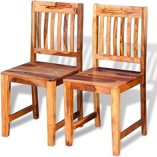 Essstuhl Sheesham Küchenstuhl vidaXL 2X Holz Holzstuhl Stuhl Esszimmerstuhl PknXNw80O