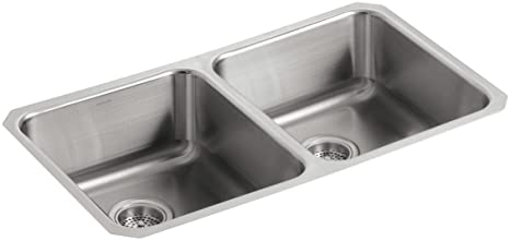 KOHLER K-3350-NA Undertone Double Equal Undercounter Kitchen Sink,  Stainless Steel