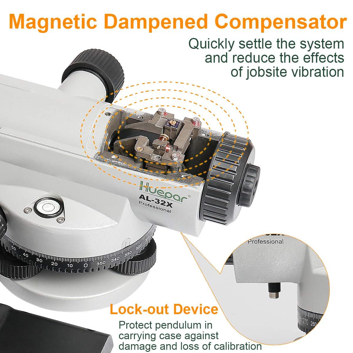 Inclus Mallette de Transport Niveau Laser Gll avec Compensateur Auto-nivelant /à Amortissement Magn/étique Pr/écision de Nivellement de 1,6mm//30m Huepar AL-32X Niveau Optique Grossissement 32x