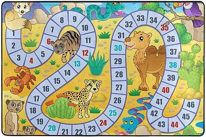 Odelia Palmer Área Alfombra Alfombra Animales Juego de Mesa Tema Alfombrillas Infantiles Alfombrilla para niños Sala de Juegos Sala de Estar Dormitorio: Amazon.es: Hogar