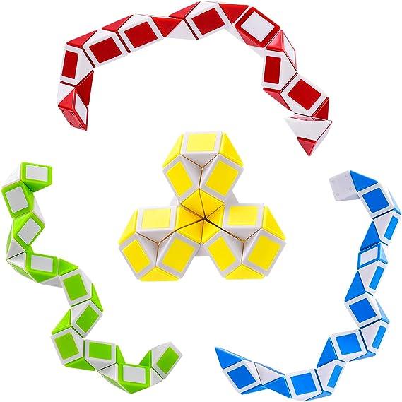 Teens Boys,Teens Girls JHXXXL Fidget Snake Block Cube Twist Puzzle Snake Magic Sensory Toys Collection Brain Teaser,Bulk Toys,Goody Bag Filler,Christmas Stocking Stuffers for Kids Pack of 3