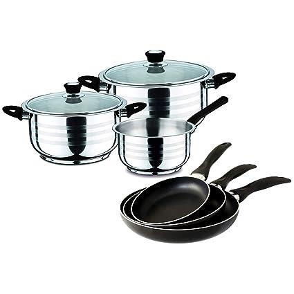 Swiss Home Set Black-3 Sartenes 16/20/24 y Batería Cocina 5 Piezas, Acero Inoxidable y Aluminio prensado
