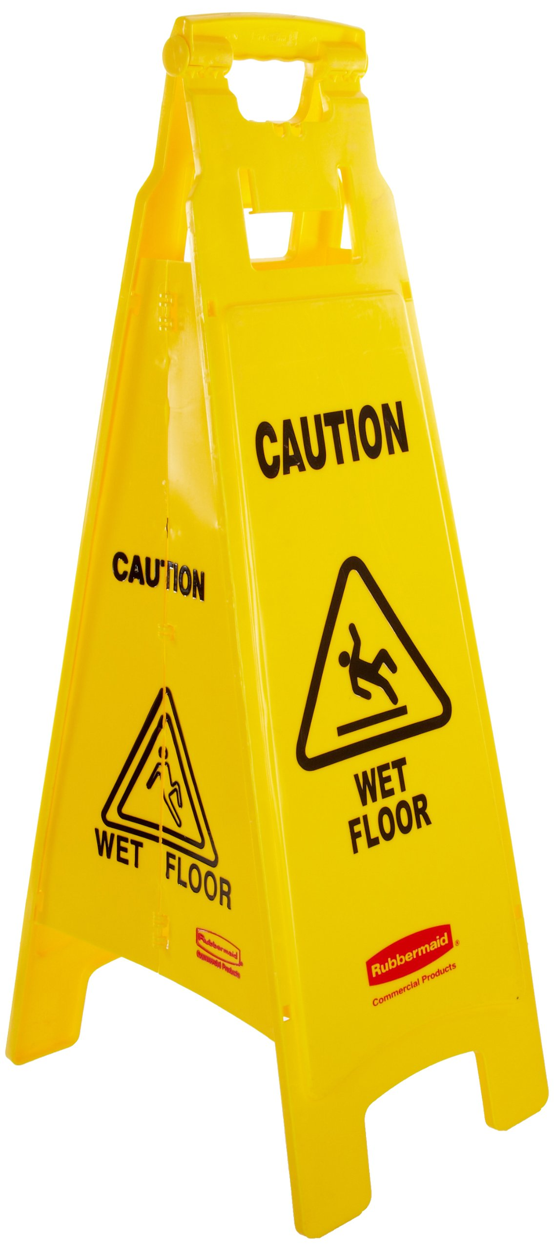 Rubbermaid Commercial 38 Inch ''Caution Wet Floor'' Floor Sign, 4-Sided, Yellow (FG611477YEL)