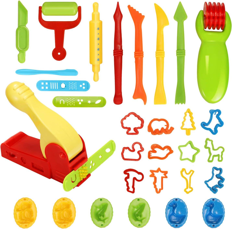Ucradle Herramientas de Plastilina Inteligentes, 30 Piezas Extrusora de Arcilla Plastilina Herramienta de Modelado de Herramientas para Moldes Modelar Juguetes de Arcilla para Niños (Color al Azar)