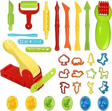 Plastilina Modellante Argilla Utensili Set per Argilla Modellabile Giocattoli per Bambini 20 Pezzi Strumenti per Plastilina Argilla e Pasta Modelli e Stampi per Estrusori