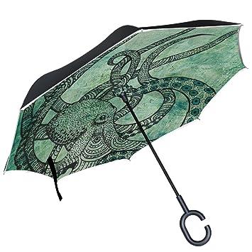 ALAZA verde oscuro pulpo paraguas invertido doble capa resistente al viento Reverse paraguas