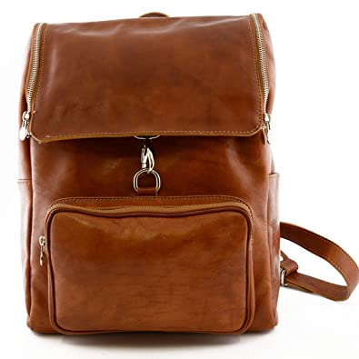 c9e2229ce9 Amazon.com: Genuine Leather Backpack with Zip Closure and Carabiner ...