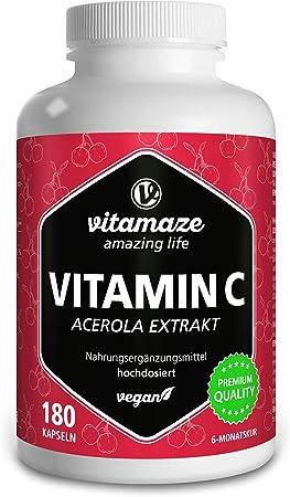 Vitamina C Acerola de Dosis Alta, 160 mg Vitamina C Natural, 660 mg de Extracto de Acerola, Vegano y Óptimamente Biodisponible, 180 Cápsulas para 6 ...