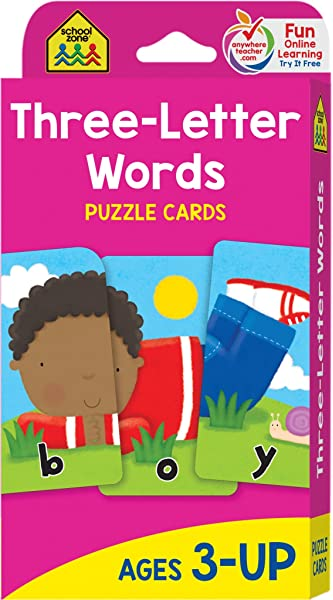 School Zone Three Letter Words Puzzle Flash Cards Ages 3 Preschool To Kindergarten Letters Letter Recognition Word Picture Recognition Spelling And More School Zone Joan Hoffman 9780887432774 Amazon Com Books