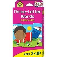 School Zone - Three-Letter Words Puzzle Flash Cards - Ages 3+, Preschool to Kindergarten...