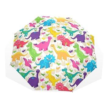 GUKENQ Colorido Dinosaurio Paraguas de Viaje Ligero Anti UV Sol Paraguas de Lluvia Paraguas Hombres Mujeres