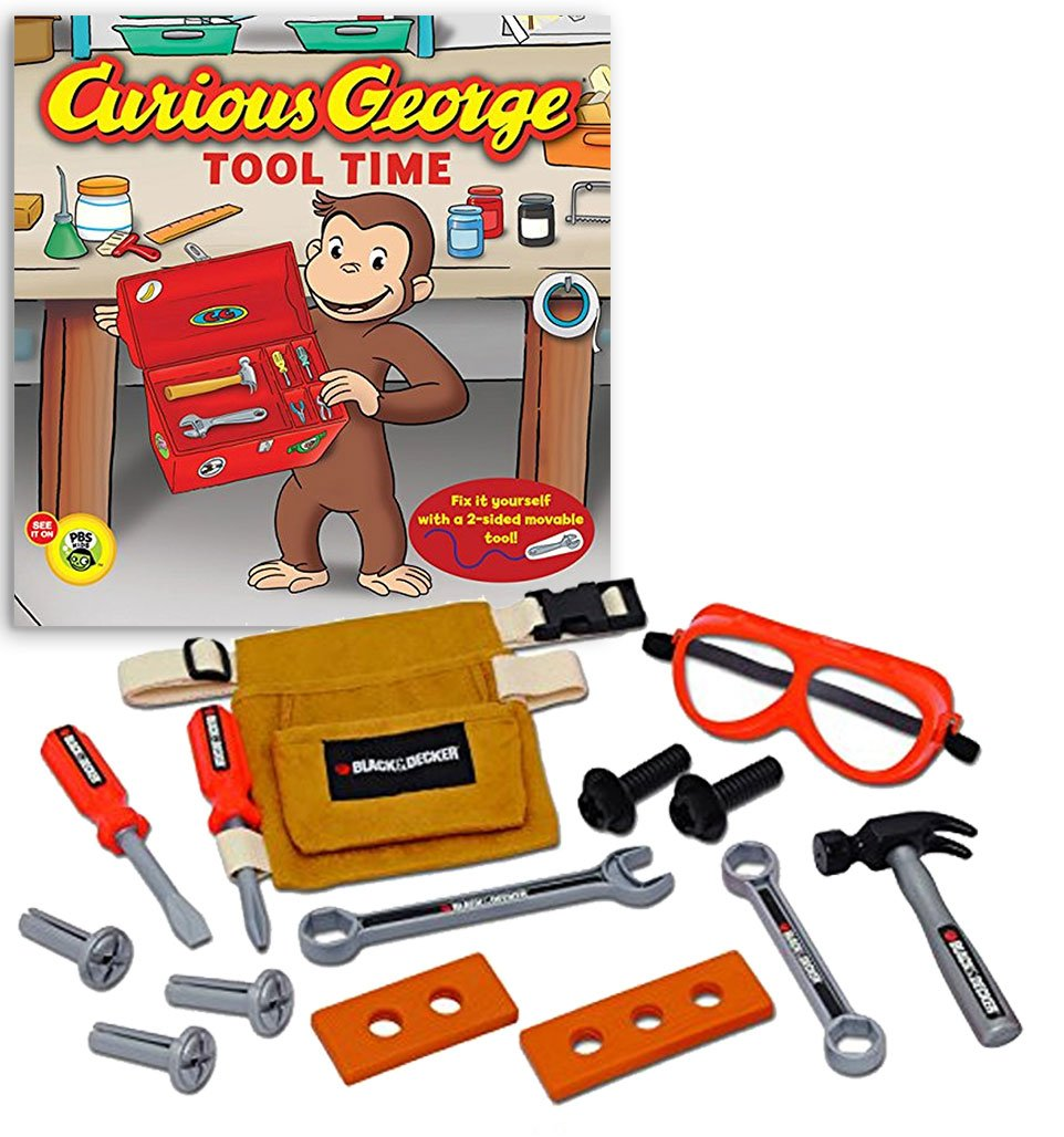 Bundle Includes 2 Items - Black & Decker Junior 14 Piece Toy Tool Belt Set and Curious George Tool Time (CGTV Board Book)
