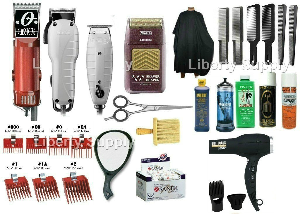 Zeepkbeauty Cosmetology kit, barber school kit, Professional hair dressing kit, Oster 76, Wahl 5 Star Shaver, Andis Fade Master, T-outliner, Complete Barber starter kit