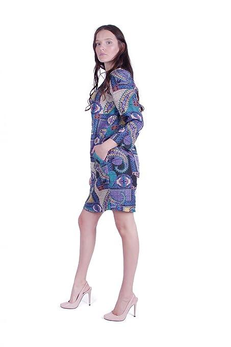 Basic Kleid aus hochwertigem Jacquard Stoff (Blau): Amazon.de: Bekleidung