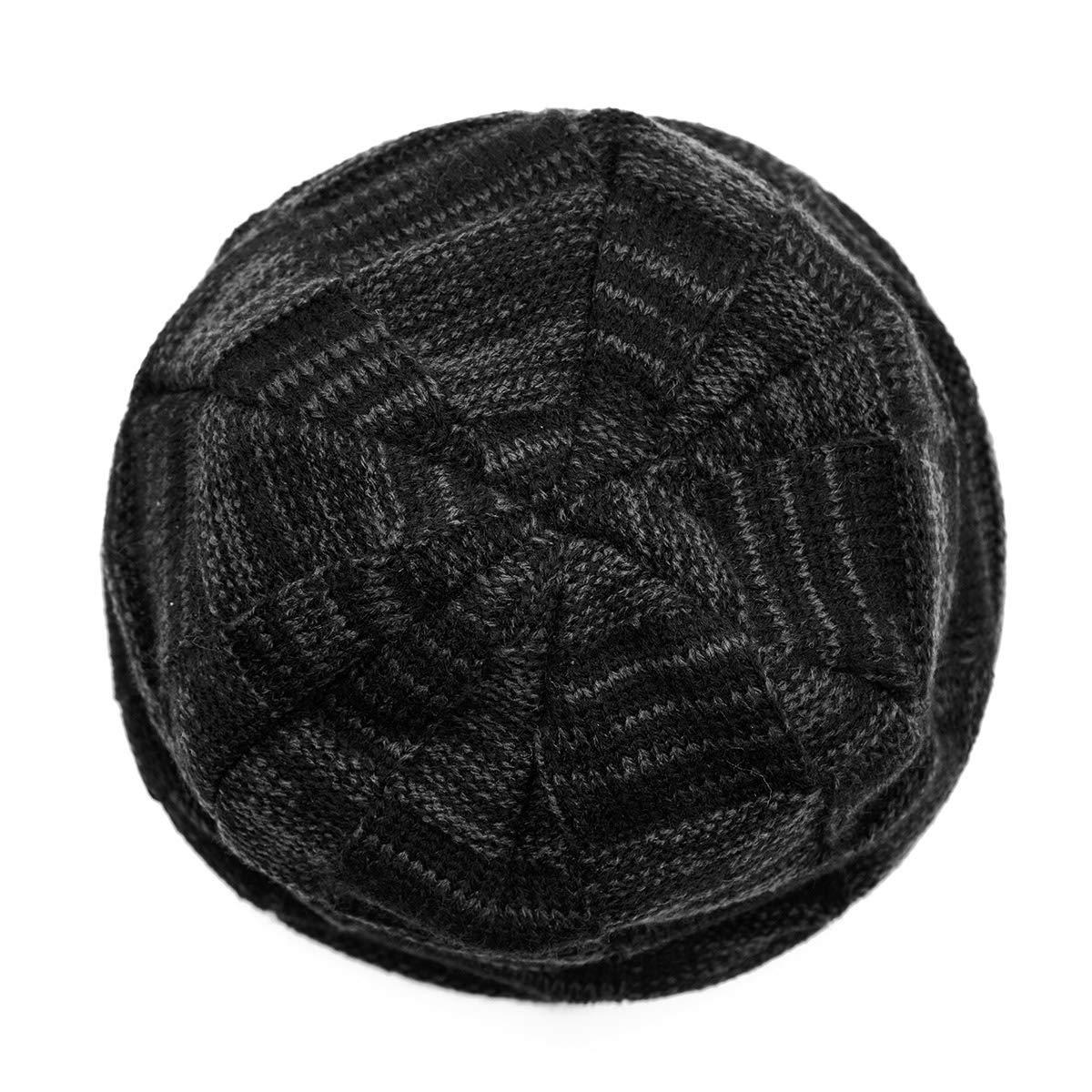 WISH CLUB Beanie Wintermütze warm gefütterte Weich Fleece-Futter Mütze Sanft Gestrickt Hut Männer Frauen (schwarz)