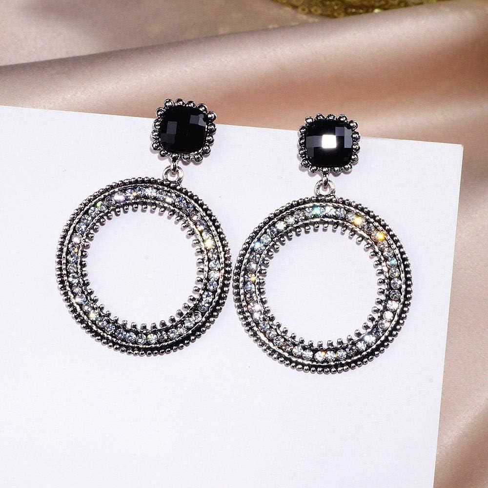 Erin Grandes Pendientes Redondos De Plata Pendientes De Anillo De Diamantes De Imitación De Cristal para Mujer Regalo De Joyería Wx196