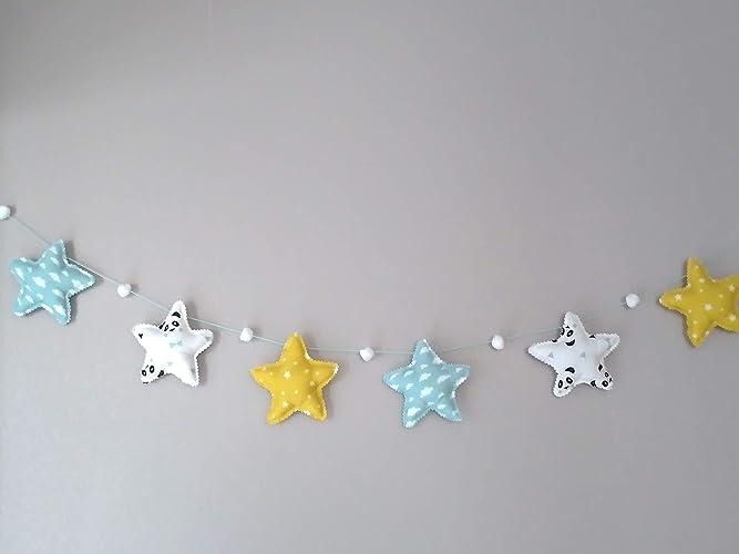 Guirlande d\'étoiles en tissu coton décoration chambre enfant et bébé ...