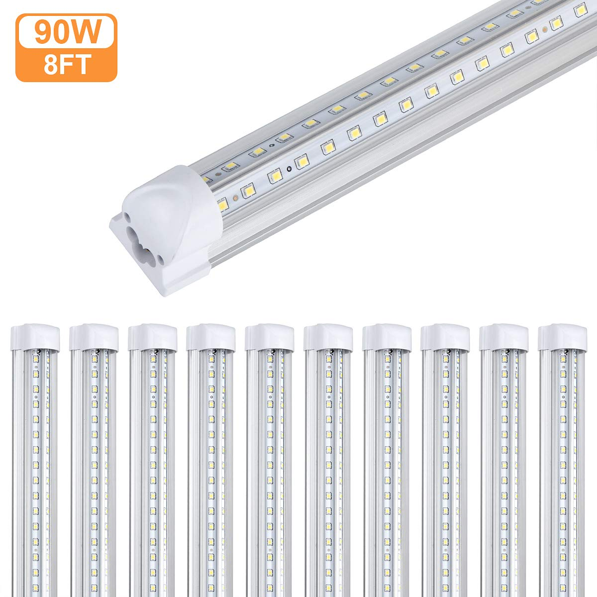 10Pack 8Ft LED Shop Light Fixture,90W 10000 Lumens 5000K Daylight White, Clear Cover,V Shape T8 Integrated 8 Foot Led Tube Light for Cooler,Garage,Warehouse,Plug and Play by GAYUSAN