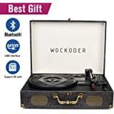 Wockoder Classic suitcase record vinyl Turntable player LP,Bluetooth,USB/SD play,built-in speakers,unique design portable suitcase turntable player