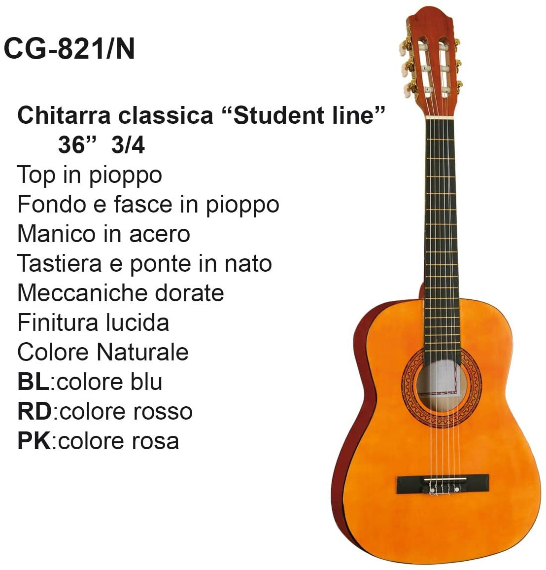 Guitarra Classic de Studio 3/4 Dam cg821 Natural: Amazon.es ...