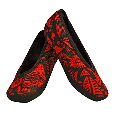 NuFoot Fuzzies Ballet Flats Women's Shoes, Best Foldable & Flexible Flats, Slipper Socks, Travel Slippers & Exercise Shoes, Dance Shoes, Yoga Socks, House Shoes, Indoor Slippers, Red Aztec, Large: Beauty