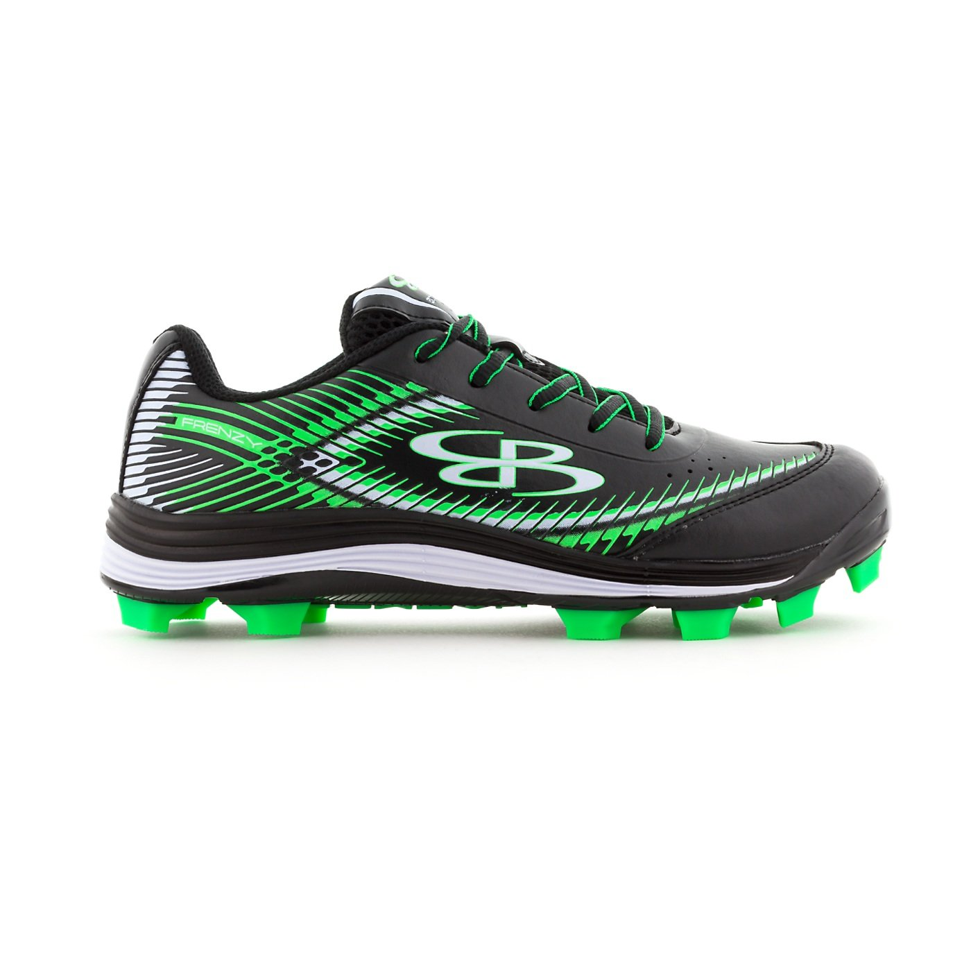 Boombah Women's Frenzy Molded Cleats Black/Lime Green - Size 9 by Boombah