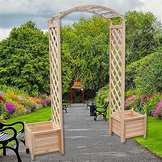 Wooden Rose Arch Climbing Aid Pergola Trellis Plant Pot Garden Round Gate Rankenbogen