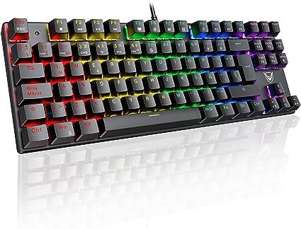 PICTEK Teclado Mecánico Switch Blue con Luz, Teclado Gaming Español LED Rainbow con Switch Azul, 87 Teclas Anti-Ghosting para PC/Mac con Windows - ...