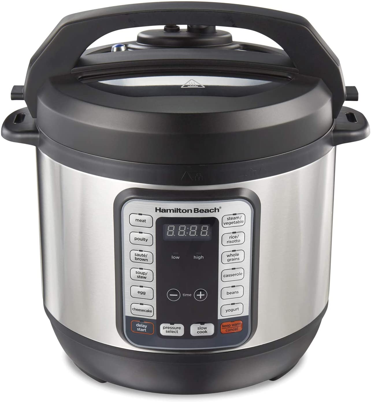 Hamilton Beach Technology, Stainless Steel (34508) 8q, 12-in-1 QuikCook Programmable Electric Pressure Cooker, Cook, Rice Steamer, Sauté, Egg and Yogurt Maker with True Slow